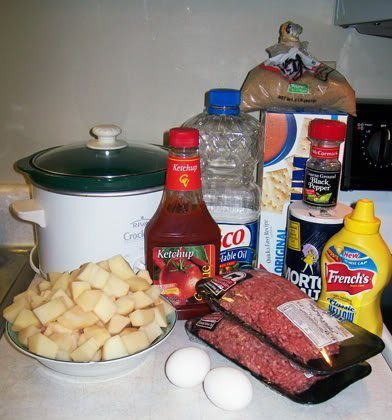 Meatloaf on a Bed of Potatoes (Crockpot recipe)