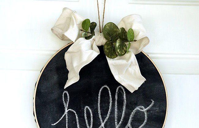 Boho Chalkboard Hoop Wreath {12 Months of Wreaths}