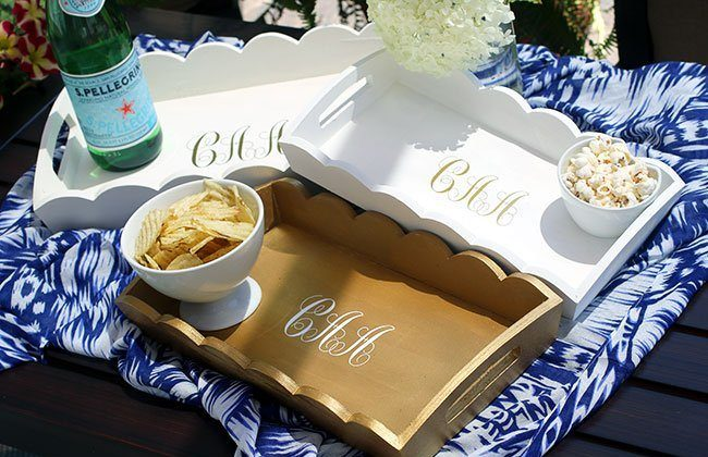 Stackable Scalloped Trays with Monograms {Tray Collab}