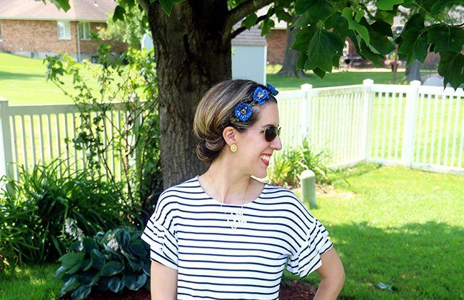 Thursday Fashion Files Link Up #115 – Floral Headband + Frill Sleeves