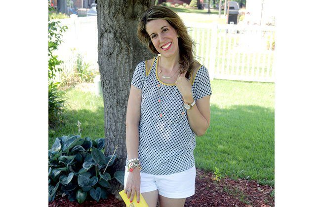 Thursday Fashion Files Link Up #67: Coral with Blue and Yellow