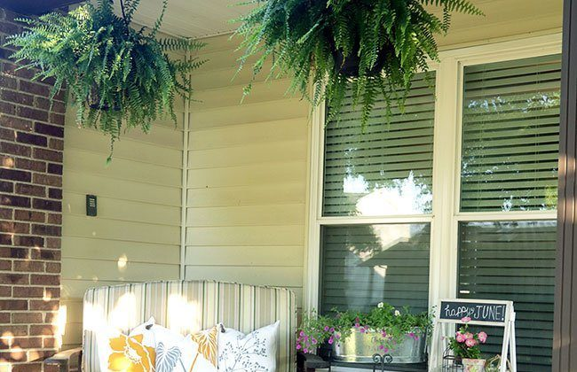 Front Porch Makeover: New Bench Pillows & GIVEAWAY {Curb Appeal Blog Hop}
