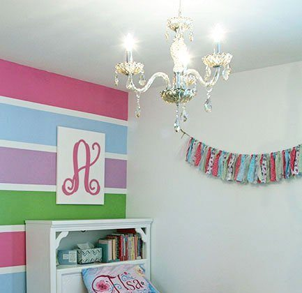 Chandelier and Latest Updates in Girls Room {with Parrot Uncle}
