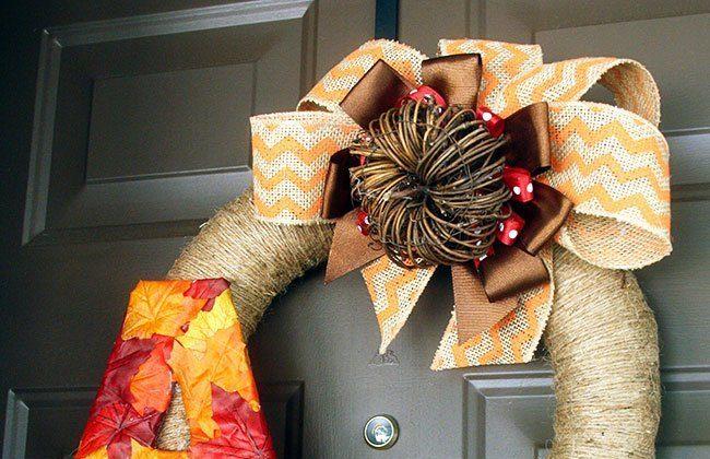 Fall Monogram Initial Wreath