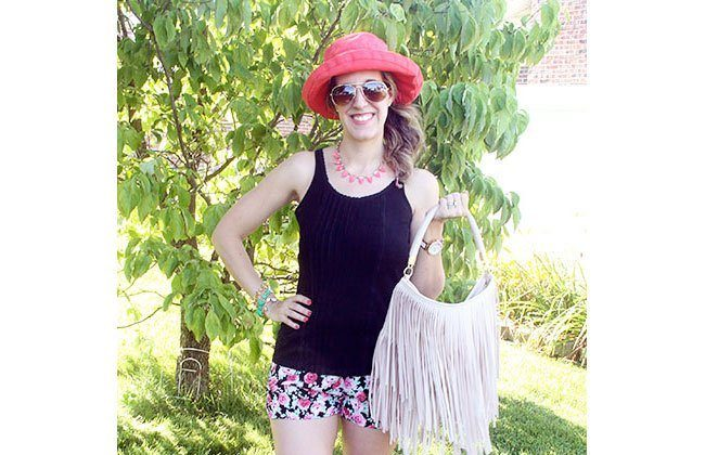 Thursday Fashion Files Link Up #24: Black Tank + Floral Shorts + Scala Sunhat in Coral