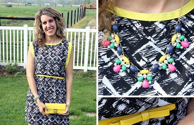 Thursday Fashion Files Link Up #10 – B/W Dress with Neon Yellow