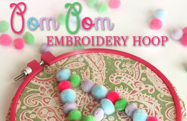 Pom Pom Initial Embroidery Hoop using Speed-Sew Fabric Glue (AND a Giveaway!)