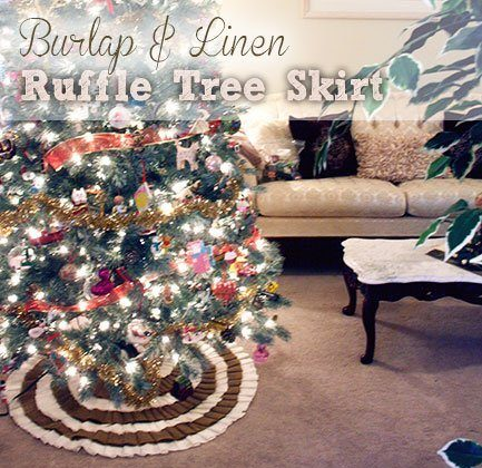 Burlap & Linen Ruffle Tree Skirt