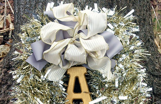 Tinsel Wreath with Wooden Monogram Initial
