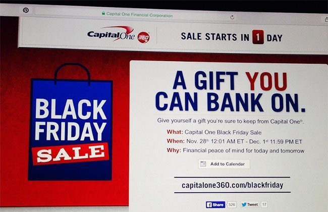 Capital One 360: Black Friday Sale