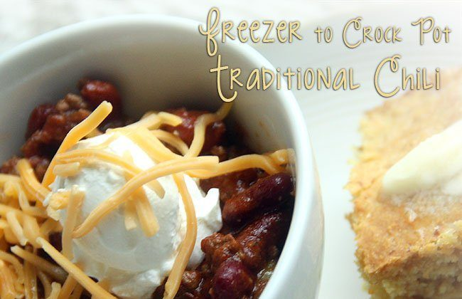 This Month's Freezer Meal: Freezer to Crock Pot Traditional Chili