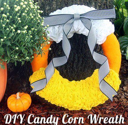DIY Candy Corn Felt Wreath