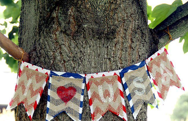Burlap and Chevron Fabric Banner for the 4th of July
