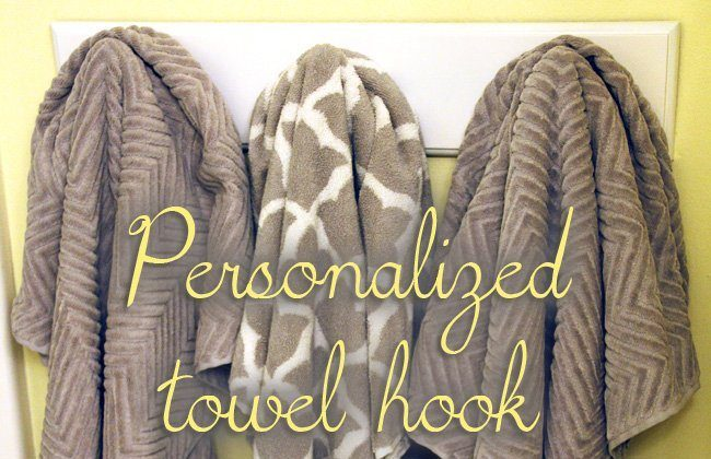 Personalized Towel Hook Holder with Pottery Barn Towels