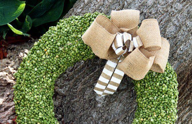 {Spring Wreath} Split Pea Wreath with Burlap Bow