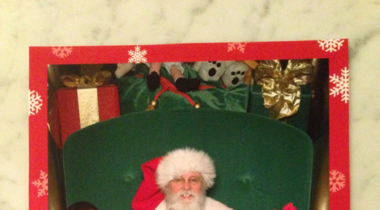 2013 Santa Photo… and, the time when Santa got out of his chair for Autumn.