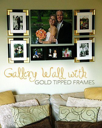 Gallery Wall with Gold Tipped Frames