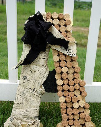 Personalized Initial with Wine Corks, Burlap & Jute