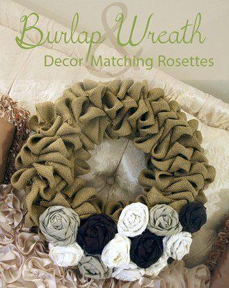 Burlap Bubble Wreath with Decor Matching Rosettes