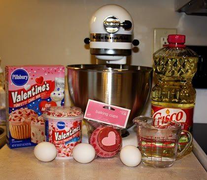 Funfetti cupcakes on Valentine's Day! Yum, yum!