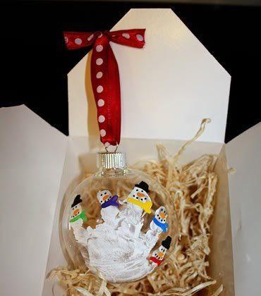 Five Little Snowmen Handprint Ornament
