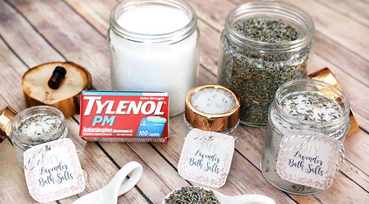 DIY Lavender Bath Salts Recipe w/ Printable Label for a Good Night's Sleep {TYLENOL® PM}