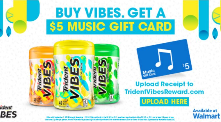 Get something FREE for purchasing Trident VIBES® gum!